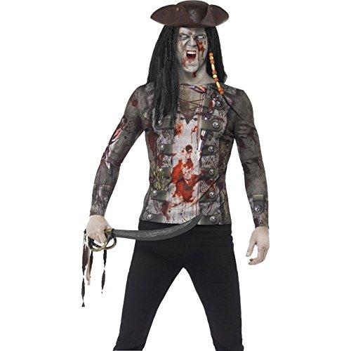 Herren Kostüm Zombie Pirat Shirt Karneval Fasching Halloween (Kostüm Herren Zombie Pirat)