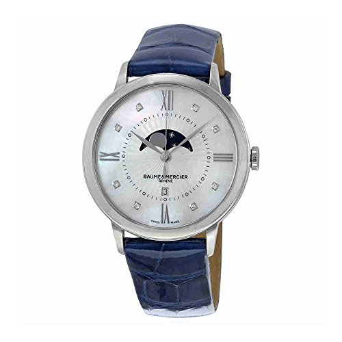 Baume y Mercier classima Madre de Pearl Dial Azul Piel Ladies Watch 10226