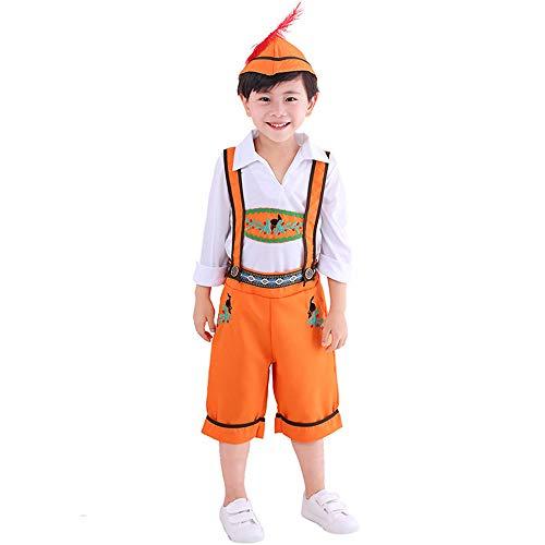 FDHNDER Child Cosplay Kleid Verrücktes Kleid Partei Kostüm Outfit Kinder Mädchen Orange ethnische Tracht Deutsch Oktoberfest, Junge, XS (Größe 98-110)