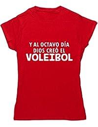 HippoWarehouse Y Al Octavo Día Dios Creó El Voleibol camiseta manga corta ajustada para mujer