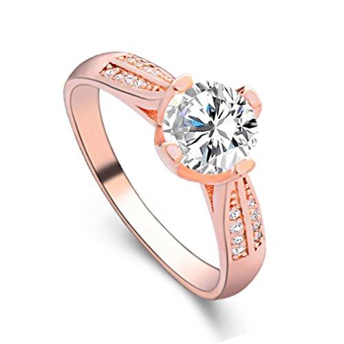 Schmuck Damen-Ring, Dragon868 Blume Kristall Ehering für Frauen Schmuck Zubehör Rose Gold Gold Verlobungsring (9, Roségold) (Jade Verlobungsringe)