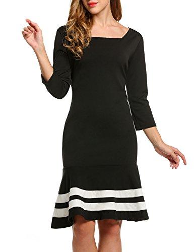 ZEARO Damen Kleid 3/4 Arm Hinter mit Reißverschluss Rundhals Knielang Figurbetont Fischschwanz Party Cocktail Kleid