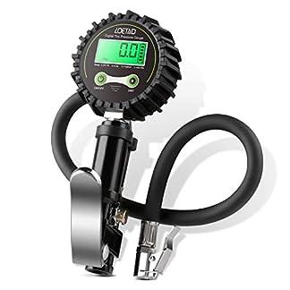 LOETAD Manómetro Digital Medidor de Presión de Ruedas Neumáticos Coche 200 PSI con Adaptadores Múltiples y Cinta Impermeable