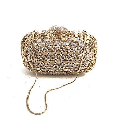KUKIE Best 4U® Damen Taschen Glas Metall Abendtasche Kristall Verzierung für Hochzeit Veranstaltung Fest Frühling Herbst Gold - Satin-kristall-glas
