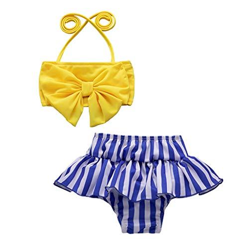 by Mädchen Badeanzüge Gestreift Gedruckt Ärmellos Sling Bademode Bikini,Haarband,Tops und Röcke Badebekleidung Sets,für 6 Monate-4 Jahre Mädchen ()