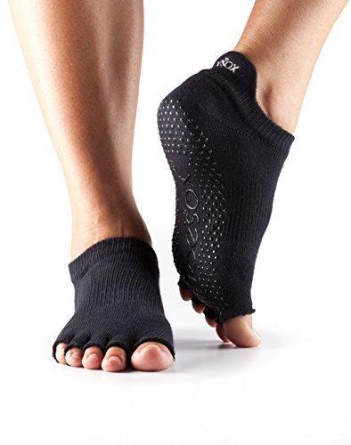 Toesox Half Toe Low Rise Calcetines de Yoga, Unisex Adulto, Negro, L