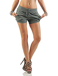 992301eb92862a Mississhop Damen Hot Pants Sommer Chino Cargo Shorts Luftige Kurze Hose  Stretch Hotpants Short mit Gummibund