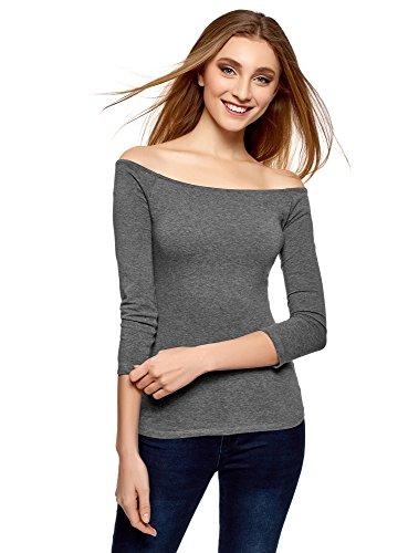 oodji Ultra Damen Tagless Schulterfreies T-Shirt mit 3/4-Arm, Grau, DE 40/EU 42/L