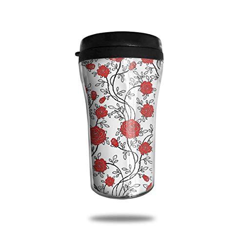 Xukmefat Red Rose Travel Coffee Mug Delicate Printing Tragbarer Saugnapf, Nahrungsmittelgrad-ABS-Isolierschale (8,8 Unzen) Aladdin Blue Rose