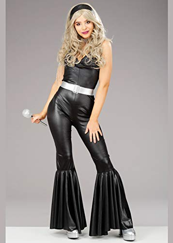 Magic Box Int. Womens Black 1970er Jumpsuit Disco Diva Kostüm Medium (UK - Black Disco Diva Kostüm