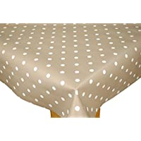 Tiny Taupe Polka Dotty Wipe Clean Tablecloth Vinyl by Karina Home 200cm x 137cm