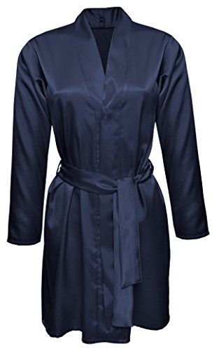 DKaren AGNES2 Morgenmantel Satin Robe Nachtwäsche Bademantel Kimono Schlafanzug Marine