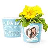 21. Hochzeitstag Geschenk – Blumentopf (ø16cm)   Geschenkidee zur Opalhochzeit für Mann oder Frau mit Herz Bilderrahmen für 1 Foto (10x15cm)   Glücklich Verheiratet - 21 Jahre