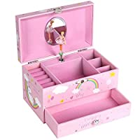 SONGMICS Unicorn Ballerina Musical Jewellery Box, Music Box with Pullout Drawer, Ring Slots and Divided Compartments, The Unicorn Melody, Pink JMC012PK