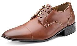 Escaro Mens Tan Italian Crown Formal Derby Shoes(ES1069GN_Tan_9)