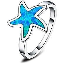 In argento sterling 925, opali sintetici blu con occhielli, per donna, a forma di stella marina - 5 Millimetri Stella Orecchini