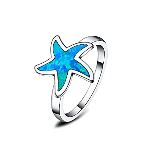 925 sterling silver synthetic blue fire opal inlay starfish rings for women (Q)