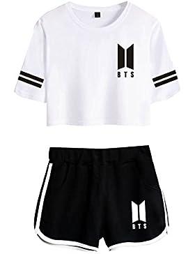CTOOO 2018 BTS Nuevo álbum De Primavera Y Verano De Ocio Expuestos Pantalones Cortos Ombligo Traje De La Camiseta...