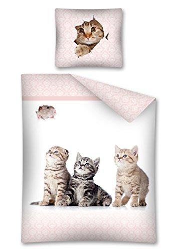 Bettwäsche Katzenbabys, Katzen Wendebettwäsche 100 % Baumwolle, 140 x 200 cm, 70 x 80 cm