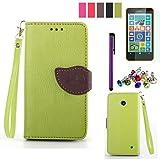 Proteja su teléfono, diseño de la hoja de la PU caso del leahter con el cine, la aguja y el enchufe del polvo para Nokia Lumia 630/635 (colores surtidos) ( Color : Rosa )