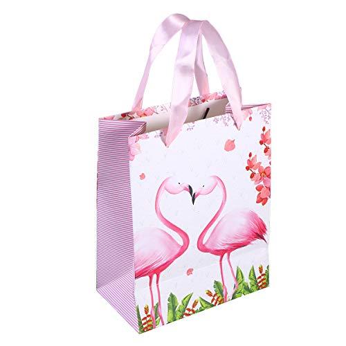 Amosfun 10 stücke Geschenk Papiertüten mit Flamingo Muster Band Griff Geschenktüten Einkaufstaschen Süßigkeiten Taschen für Kinder Geburtstag Hochzeit Party Supplies Favor Dekorationen