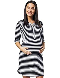 17ee430984714 HAPPY MAMA Women's Maternity Nursing Striped Nightshirt Open Front Top 007p