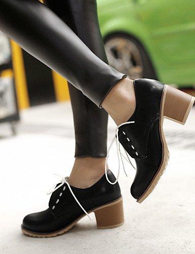 ZQ Scarpe Donna - Stringate - Ufficio e lavoro / Formale / Casual - Tacchi / Comoda / Chiusa - Quadrato - Tulle / Finta pelle -Nero / , 2in-2 3/4in-brown 2in-2 3/4in-black