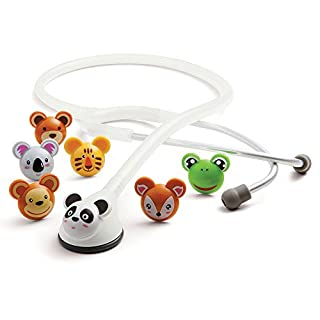 ADC Adscope Adimals 618 Pediatric Stethoscope with Tunable AFD Technology, 30 inch Length, White - Cute Animal Design Stethoscope for Kids, toddlers