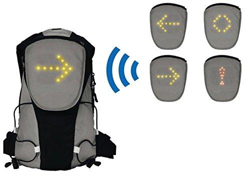 Rucksack Fahrrad mit LED Beleuchtung Gepolsterer Rücken Leuchtsignale Fernbedienung (Schulrucksack, Abbiegepfeile, Gefahr, Stopp, Leuchtrucksack, Fahrradrucksack, LED-Blinker) -