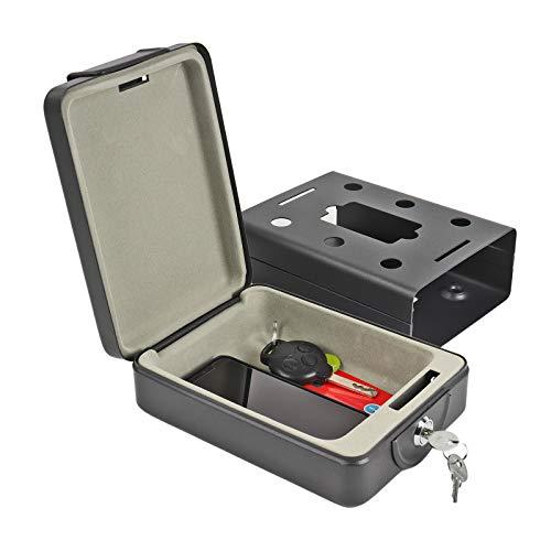 ProPlus Hochsichterheits Mobilsafe mit Schlüssel B 15 x T 21 x H 5,5 cm, Geldkasette, Tresor schwarz für Wohnwagen und Wohnmobil