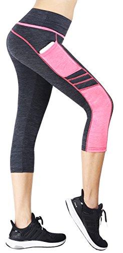 Flatik Damen Sport Leggings (Blickfang 12 Farben) Hohe Taille Fitnesshose Blickdichte Leggins Glanz Training Tights Strech Yoga Sporthose Strumpfhosen mit Tasche (Grau Pink(3/4 Capri), S) (Fitness Hose Capri)