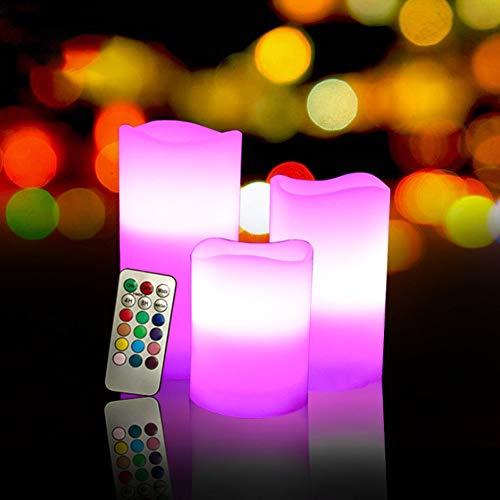 Gardenia-geschenk-set (HBLWX LED Flammenlose Kerzen Multicolor 3er Set Elfenbeinwachs mit flackernder rotierender Farbflamme, Auto-Off-Timer-Fernbedienung für Hochzeiten und Geschenke)