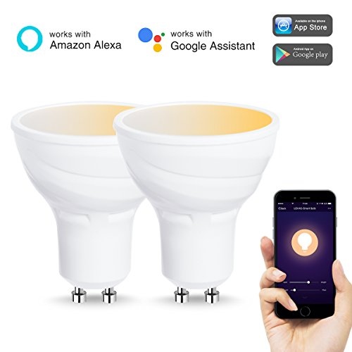 LOHAS WiFi GU10 Smart Glühbirnen, Arbeitet mit Alexa und Google Home, 5W=50W Halogenlampen, Warmweiss-Kaltweiss 2000K-6500K, gesteuert von Smart Devices, kein Hub erforderlich, 2er-Pack - Installieren Dimmer Lichtschalter