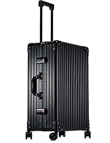 Menschwear Alu Reisekoffer HardShell-Gepäck mit Spinner-Rädern TSA genehmigt Schwarz 25