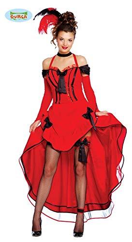 Sexy Saloon Girl Damen Kostüm mit Kleid in Rot Gr. S - L, Größe:S