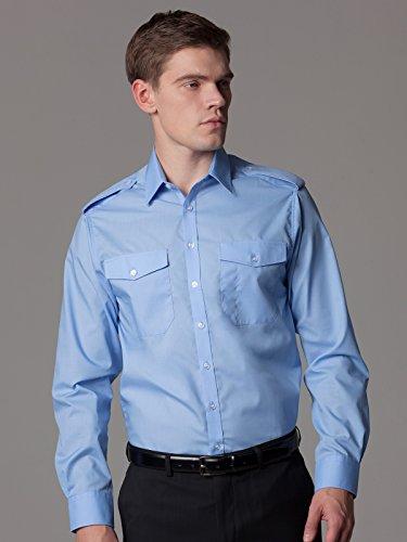 """Kustom Kit Pilot Shirt Long Sleeved - White, Black or Blue / Collar 14.5 - 19.5"""" Light Blue"""
