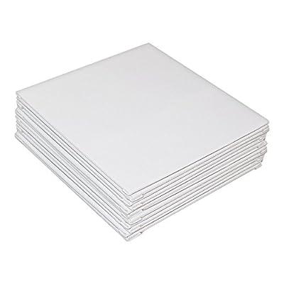 12 teiliges Leinwand Set- Weiße Leinwand für Künstler- Leinwand Tafeln zum Bemalen der Größe 20,32 x 20,32cm- Acryl Malerei - Weiße, bespannte Leinwand für Acrylmalerei- Leinwand für Aquarellmalerei von Kurtzy bei TapetenShop