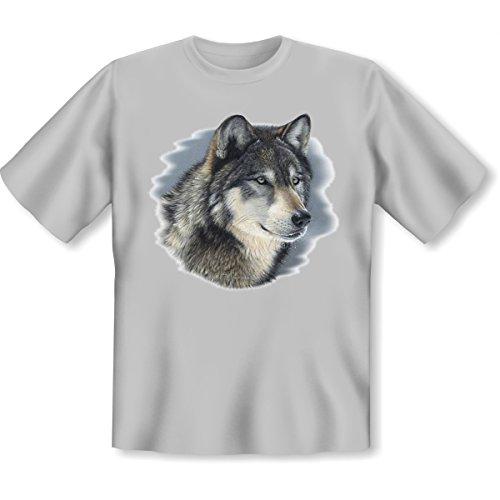 Biker Shirt /T-Shirt/Baumwoll-Shirt lässiger Wolf-Aufdruck: Cold Stare Wildlife - cooles Indianer-Motiv Grau