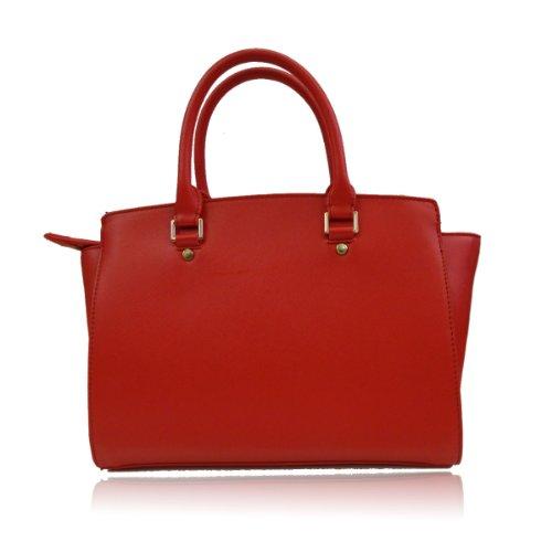 UKFS Celine Borse Tote / progettista delle ragazze delle signore del Faux della borsa sacchetto di cuoio / spalla (Medio Rosso) Medio Rosso