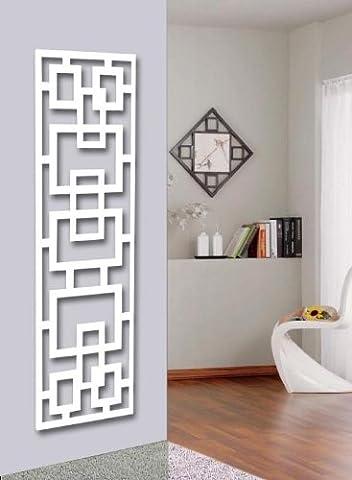 Wandgarderobe / Garderobe Design Rechteck, 140x40x2 cm, weiß (Marke: Szagato, Made in Germany) (Kleiderständer, Garderobenständer, Wandpaneel,