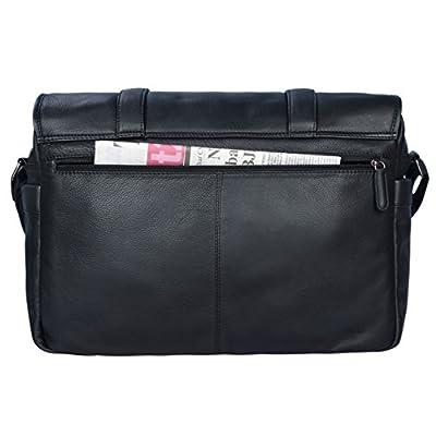 STILORD 'Maxime' Sac Bandoulière Homme Cuir noir Sac Besace XL pour Classeur A4 Ordinateur Portable 15,6 Pouces Serviette de travail en Cuir véritable