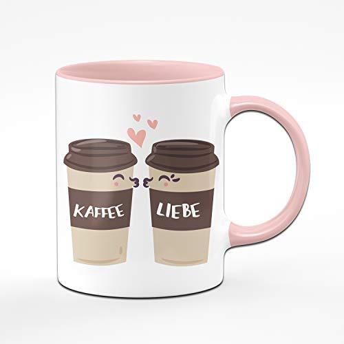 Tassenbrennerei Tasse mit Spruch Kaffee Liebe - Süße Kaffeetasse ALS Bürotasse, Geschenk für Kollegin Tassen mit Sprüchen (Rosa)