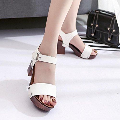 Damen PeepToe High Schuhe Römische Sandalen, Kaiki Mode Sandalen Frauen  Pumps High Heels Schuhe Damen Schuhe White 2