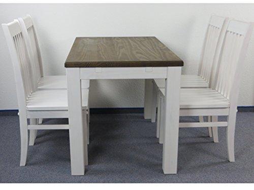 Sitzgruppe Garnitur mit Esstisch 120x73cm + 4 Stühle Klassic Holz Pinie massiv in weiss / Tischplatte Eiche antik