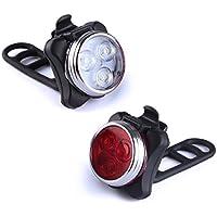 LED Fahrradlampe, Kungix Fahrradlicht Wiederaufladbare Frontlicht und Rücklicht Für Fahrrad, Kinderwagenbeleuchtung, USB LED Fahrradlicht Set, Fahrradbeleuchtung, 350lm Wasserdichte 4 Licht-Modi 2 USB-Kabel zum Aufladen