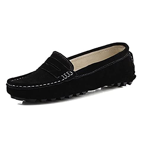 SUNROLAN Rebacca Women's Suede Leather Driving Moccasins Slip-On Penny Loafers Flats Boat Shoes, Black, UK 4
