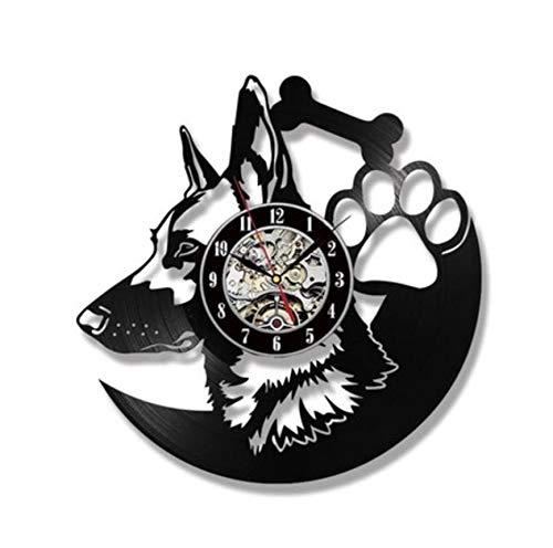 wczzh 12 Zoll(30cm) Modern Quartz Lautlos Wanduhr Uhr Uhren Wall Clock Hund Schallplatte Wanduhr - Kinderzimmer Wanddekoration Geschenk G09