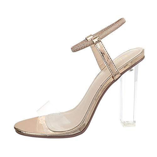 Ital-Design Damenschuhe Sandalen & Sandaletten High Heel Sandaletten Synthetik Gold Rosa Gr. 38 Gold High Heel Sandaletten