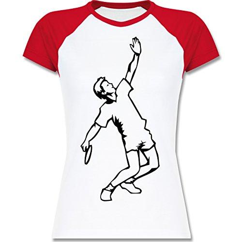 Tennis - Tennis - zweifarbiges Baseballshirt / Raglan T-Shirt für Damen Weiß/Rot