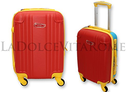 trolley-valigia-bagaglio-a-mano-cabina-ryanair-easy-jet-4-ruote-abs-low-cost-rosso-giallo-celeste